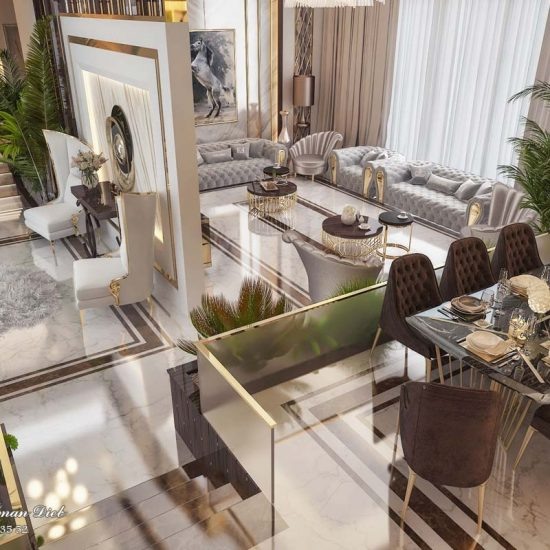 Entrance hall with seating corner and dining room - KSA